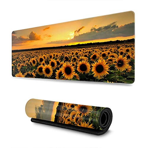 Sunflower Gaming Mouse Pad, Long Extended XL Mousepad Desk Pad, Large Non-Slip Rubber Mice Pads Stitched Edges, 31.5'' X 11.8''