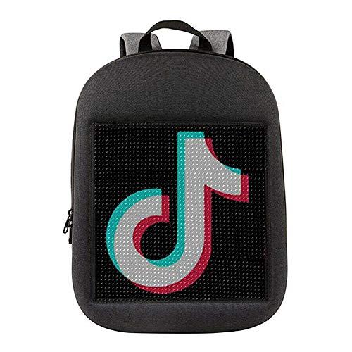 KTops Smart LED-Rucksack, große Kapazität wasserdichter Laptop Daypack, programmierbare intelligente LED-Anzeige, Innovative Schultasche mit USB-Ladeanschluss, Zwei Farben,Grau