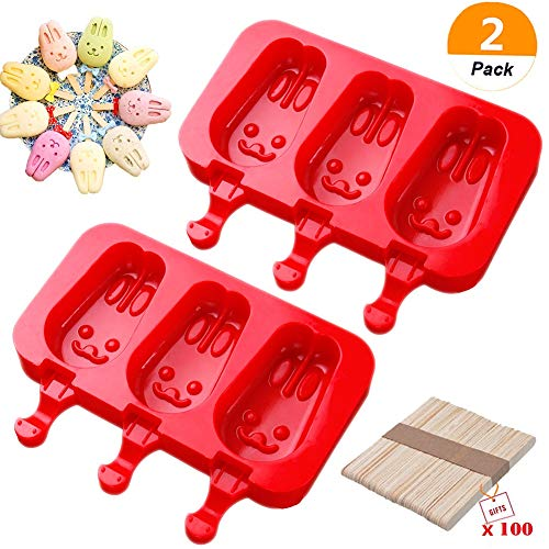Sakolla Homemade Popsicle Silicone Molds with Lid, BPA Free Ice Cream Bar Mold, 3 Cavities Silicone Ice Pop Mold with 100 Wooden Sticks, Set of 2 (Rabbit Shape)
