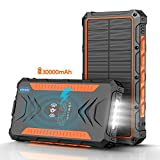 Solar Power Bank 30000mAh, Solar Charger,Portable Charger, Outputs 5V/3A High-Speed & 2 Inputs Huge Capacity Phone Charger for Smartphones, IP66 Rating, Strong Light LED Flashlights(Orange)