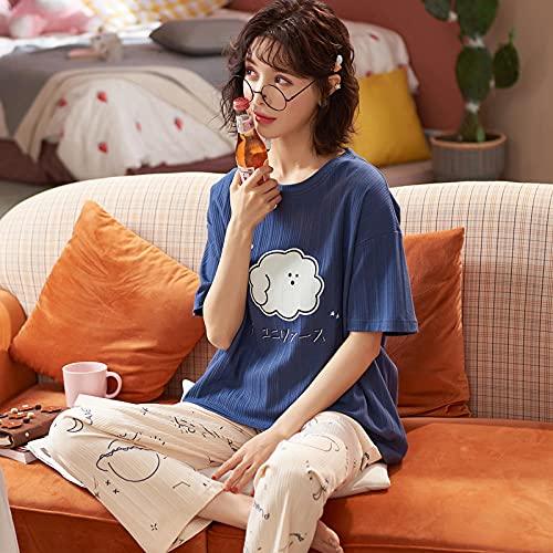 Mujer Pijama Estampado de Manga,Pijama de Pantalones de Manga Corta, algodón de sección Delgada de Verano, Dos Juegos de Servicio a Domicilio-XL_E5,Manga Larga Franela Conjunto
