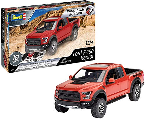 Revell 7048 1:25 (Easy-Click) Plastic Model Kit 07048 2017 Ford F-150 Raptor, Mehrfarbig, 1/25