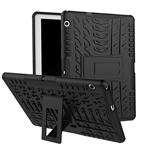 Haiqing Hyun Pattern - Carcasa híbrida de doble capa con función atril 2 en 1, a prueba de golpes, compatible con Huawei Mediapad T3 10 2017 9.6 pulgadas (2017 lanzamiento), color negro