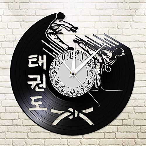 UIOLK Taekwondo Karate Guys Vinilo CD Disco Reloj de Pared Artes Marciales Coreanas Taekwondo Shadow Play Reloj de Pared Centro de Entrenamiento Decoración