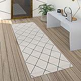 Paco Home Teppich Wohnzimmer Skandi Rauten Muster Modern Weiß Verschiedene Designs Größen, Grösse:80x300 cm, Farbe:Weiß 2