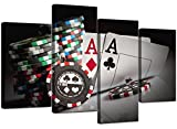 Extra Large Black White Red Poker Canvas Wall Art 130cm Set XL 4048 by Wallfillers