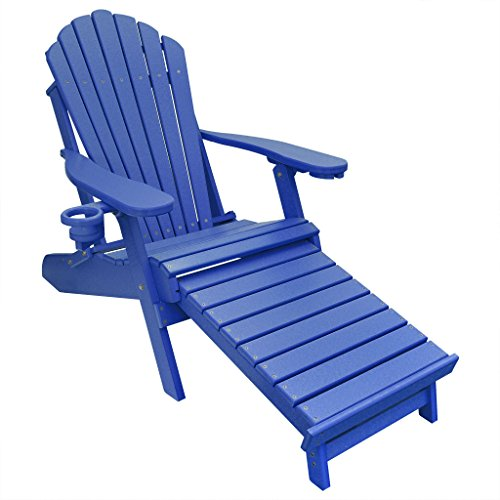 ECCB Outdoor Outer Banks Deluxe Oversized Poly Lumber Folding Adirondack Chair with Integrated...