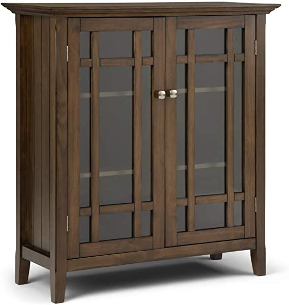 Simpli Home AXCBED 02RNAB Bedford Solid Wood 39 Inch Wide Rustic Medium Storage Cabinet In Rustic Natural Aged Brown