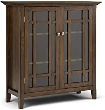 Simpli Home AXCBED-03RNAB Bedford Solid Wood 32 inch Wide Rustic Low Storage Media Cabinet in Rustic Natural Aged Brown