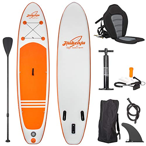 "Jiubenju All Around Inflatable Stand Up Paddle Board with Kayak Seat, Supports 308 LBS, 10'6"" L x 30"" W x 6"" Thick Non-Slip Deck, Premium SUP Accessories Includes Aluminum Oar Pump Leash Carry Bag"