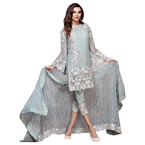 ETHNIC EMPORIUM Sky Blue Indian Pakistani Straight Salwar Kamiz Kameez Suit Bollywood Girl Top Straight Pant Wedding Suit Georgette 7943