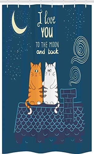 ABAKUHAUS Ik hou van jou Douchegordijn, Katten van de liefde op het dak, voor Douchecabine Stoffen Badkamer Decoratie Set met Ophangringen, 120 x 180 cm, Petrol Blue Ivory