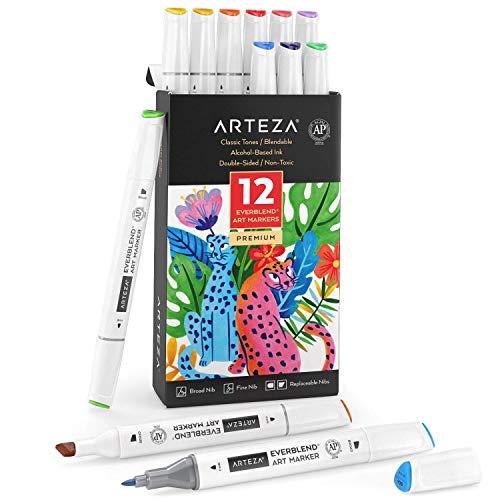 Arteza EverBlend Rotuladores de Arte, 12 colores brillantes, rotuladores de alcohol de doble punta (biselada ancha + fina), para dibujar, colorear, rotulación manual y caligrafías