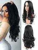 Pelucas de las mujeres sintético negro natural ondulado largo rizado pelucas parte media diaria vestido peluca 56 cm / 22 pulgadas