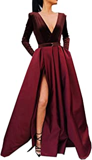 Women's High Split Evening Dress V Neck Prom Gown Long Sleeve Party Gown