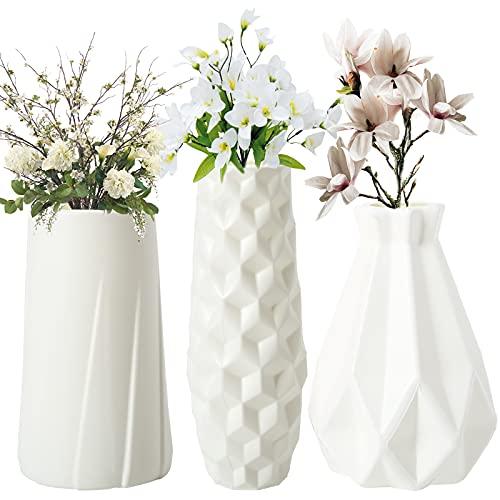 Colmanda 3 Pezzi Nordic Imitazione Vaso, Imitazione Ceramica Vaso, Bottiglia Vaso, Decorazione della Casa Adatta per Decorazione Domestica, Decorazione Della Tavola Vivere (Bianco puro)