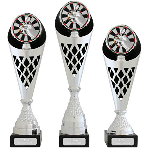 Pokal L Pokal Dart Serie Verdun Trophäe Silber groß mit Gravur