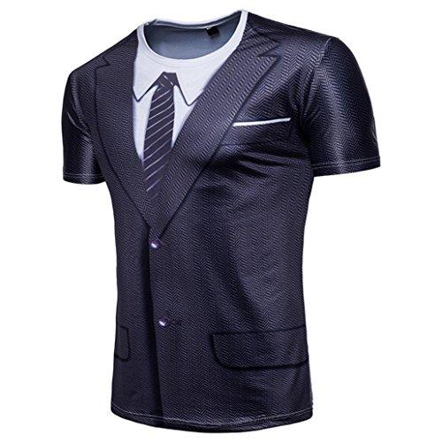 Longra Herren T-Shirts Rundhals Basic Kurzarm Shirt Top mit 3D Druckblusen Tops Fake Anzug-Krawatte Muscle T-Shirt Gentleman Slim Fit T-Shirt Muskelshirt (Black, 2XL)