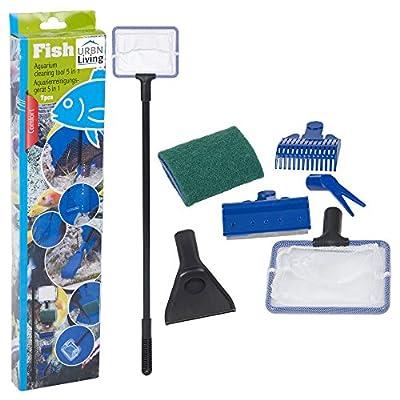 URBNLIVING 5 in 1 Aquarium Fish Tank Cleaning Kit Fish Net, Gravel Rake, Algae Scraper, Fork, Sponge Tools Set