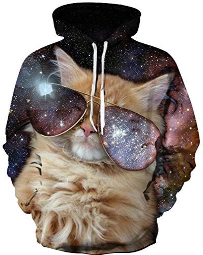 Ocean Plus Jungen Langarm Galaxis Kapuzenpullover Bunt Casual Sweatshirts Pullover mit Kapuzen Pulli für Kinder Hoodie (XL (Körpergröße: 135-145cm), Galaxis Sonnenbrille Katze)
