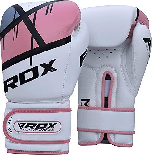 RDX Guantes de Boxeo Mujer, 8oz, Blanco-Rosa