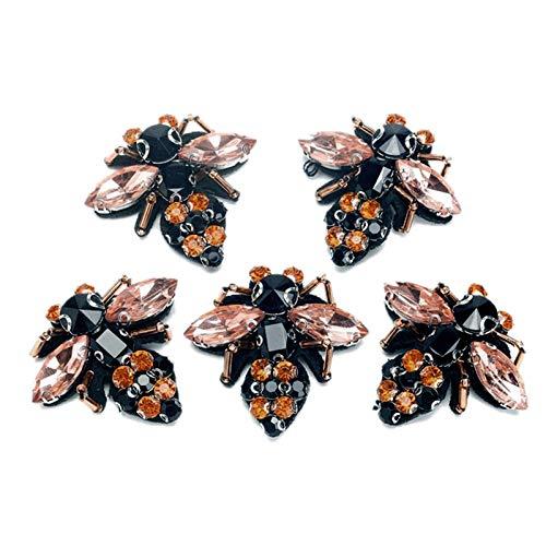 Gesh 5 broches de lentejuelas con diseño de abejas y diamantes de imitación, para decoración de ropa de moda