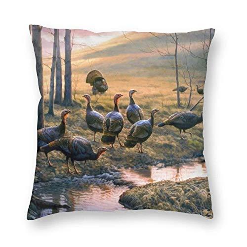 Gokruati Fundas para Cojines Pájaro Funda de cojín con impresión clásica de algodón Suave y poliéster 45 * 45 cm