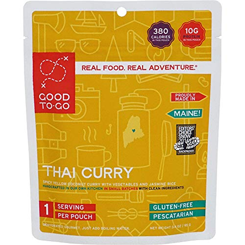 GOOD TO-GO Thai Curry – Single-Serving | Dehydrated Backpacking and Camping Food | Lightweight | Easy to Prepare