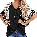 Camiseta Mujer Moda Encaje Leopardo Mangas raglán Trenzado Top Irregular