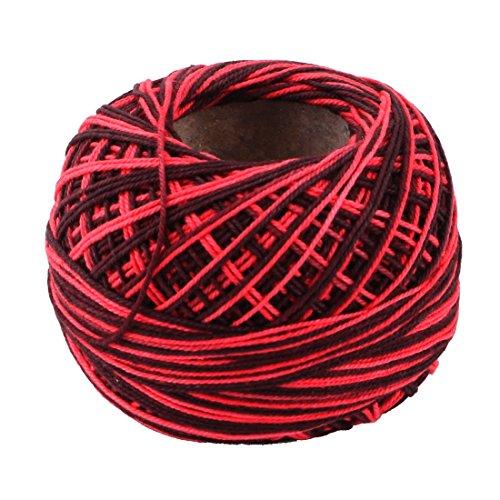 sourcingmap Bricolage famille Pelote de laine Couture Tissage Chapeau Fil Crochet Tricot Fil à broder Noir Rouge 60g