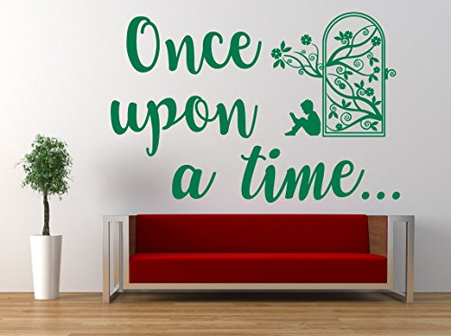 Once upon a time Quote, Vinyl Wall Art Sticker. Mural, Decal. Home, Wall Decor. Children's Bedroom, Nursery, Playroom, Reading, Story, Book, Secret Garden Door