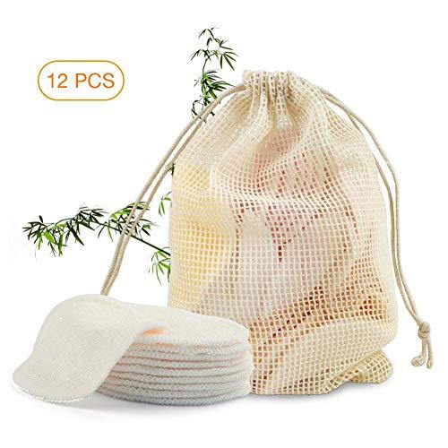 Abschminkpads Waschbar,Wiederverwendbare Wattepads aus Bambus und Baumwolle Make up Entferner Pads Perfekt für Gesichtsreinigung Hautfreundlich Für alle Hauttypen mit Wäschesack-
