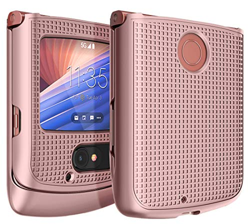 Schutzhülle für Motorola RAZR 5G Flip Phone, Nakedcellphone [Rose Gold Pink] Schutzhülle Snap Snap Hard Shell Cover [Grid Texture] für Motorola Moto RAZR 5G Flip Phone (2020) XT2071