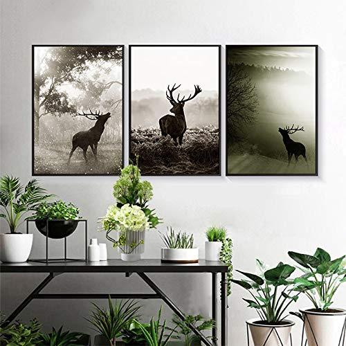 Geiqianjiumai Nordic stijl dier herten bos canvas schilderij landschap modulaire muur foto woonkamer moderne huisdecoratie zonder frame