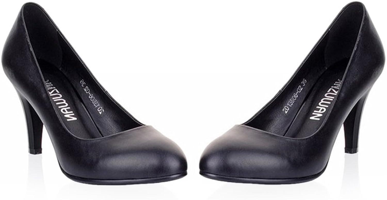 Plain Thin shoes All-match High Heel Low-cut Round Last Plus Size black