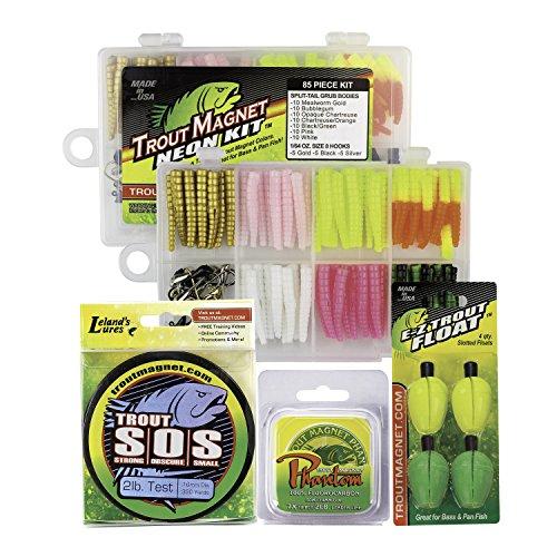Trout Magnet Ultimate Bundle - 85 Piece Neon Grub Kit, 350 yd Trout S.O.S. Spool, 100% Fluorocarbon...