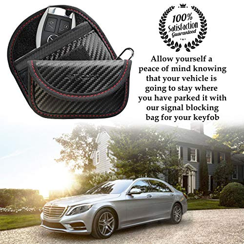Mini Faraday Bag for Key Fob (2 Pack), TICONN Faraday Cage Car Key Protector - RFID Signal Blocking, Anti-Theft Pouch, Anti-Hacking Case Blocker (Carbon Fiber Texture)