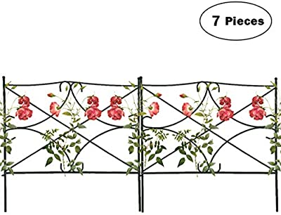 """Mr.Garden Edging Fence Metal Decorative Garden Barrier Panels 24""""x24"""", Dog Outdoor Fence, Coated Folding Border Fences for Garden Patio Tree Ring, 7pack, White"""