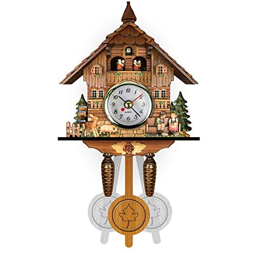 Retro Cuckoo Clock Black Forest Clock, Chalet-Style Wall Clock with Pendulum, Handcrafted Wood Cuckoo Chime, Creative DIY Clock Living Room Home Decor 129x231x55MM (010)