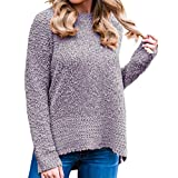 PPangUDing Strickpullover Strickpulli Sweater Damen Neue Modisch Langarm Einfarbig Rundhals Teddy-Fleece Plissierten Details Regular Fit Knitted Sweatshirt Top Für Herbst Winter Und Frühling
