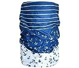 Halstuch Schlauchschal Damen Multifunktionstuch Herren Maritim Anker Design Atmungsaktiv Sport Rundschal Motorrad Tuch Loop (Anker blau weiß)