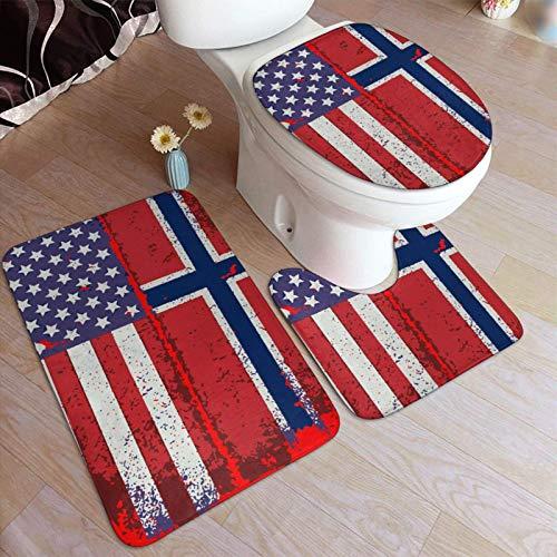 FETEAM Juego de Alfombrillas de Baño de 3 Piezas Bandera Noruega Americana Antideslizantes Absorbente Alfombra de Contorno y Cubierta de Tapa