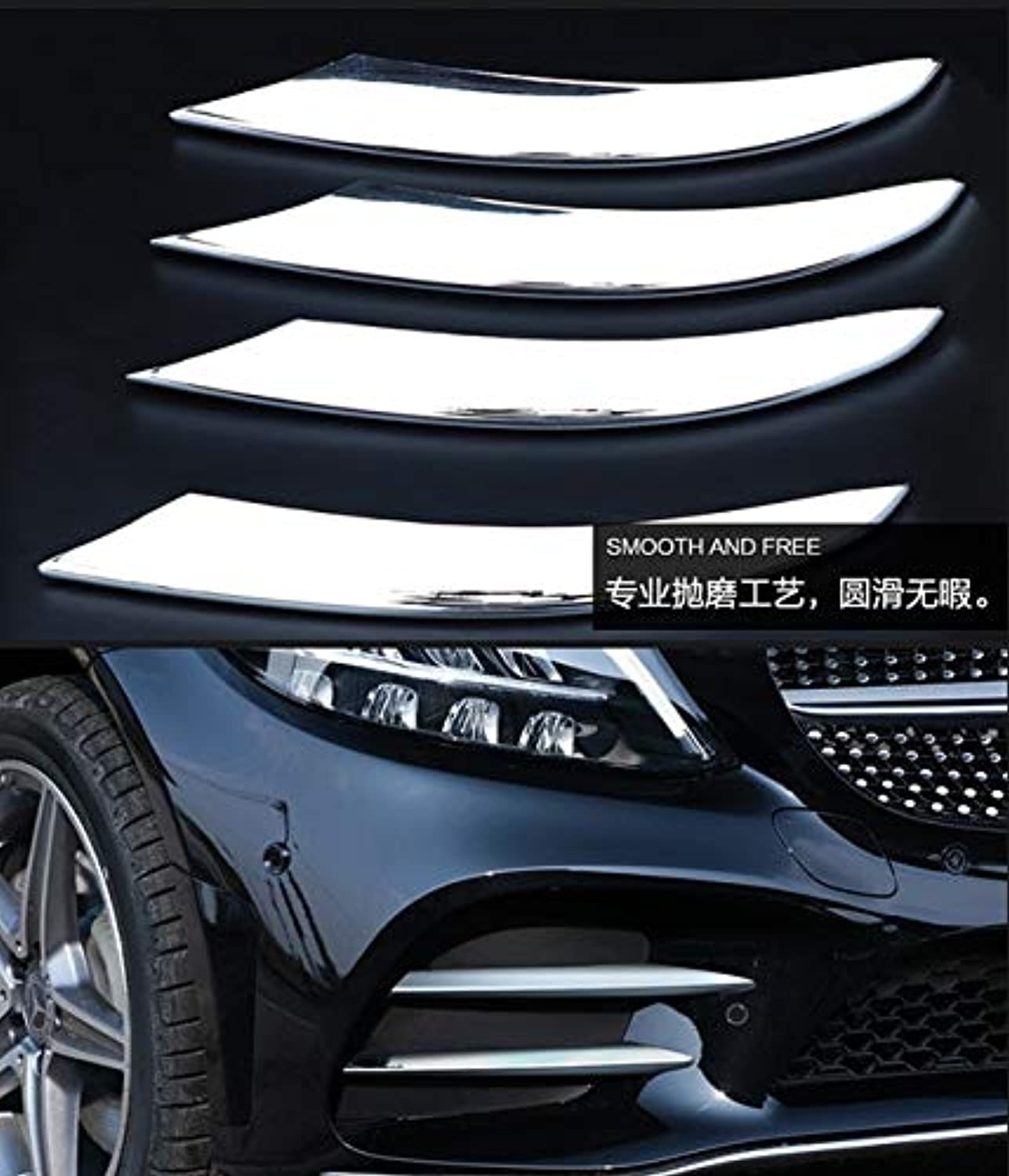 For Mercedes Benz C Class W205 2019 Car Styling Front Fog Lamps Cover Grille slats Lights Sticker Decoration Strips Accessories  (color Name  Silver)