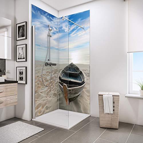 Schulte Deco-Design Foto Ruderboot am Strand über Eck, 210 x 90 x 90 cm, 3 mm Aluminium-Verbundplatte, Wandverkleidung als fugenfreier Fliesenersatz