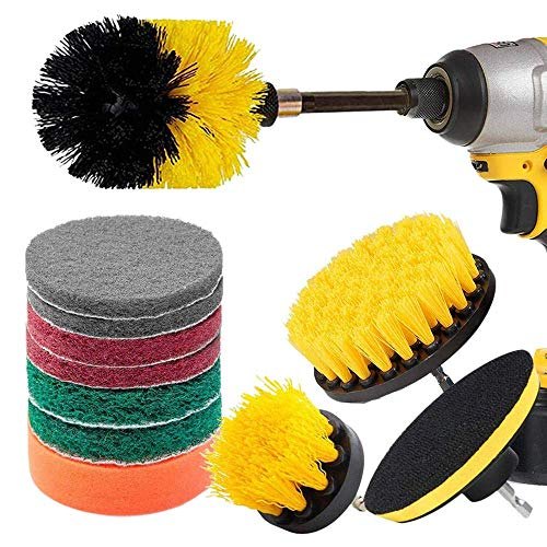 LKK-KK 12 Piece Drill Brush Scrub Pads Power Scrubber Brush with Extended Long Attachment All Purpose-Cleaner Scrubbing Cordless Drill for Cleaning Pool Tile
