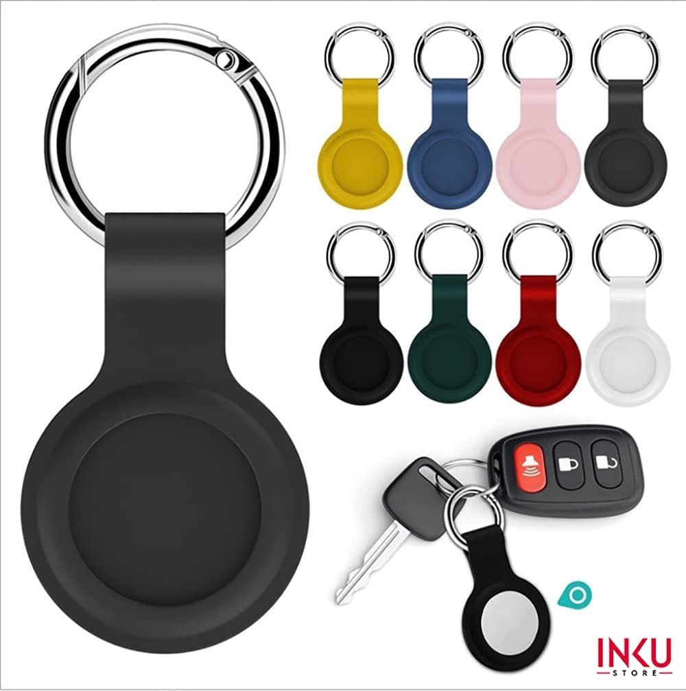 Inku Airtag Silicone Keychain - 2 PCs - Key Finder Phone Finder, Anti-Scratch Protective Skin Cover, Flexibe, Anti-Stratch, Protective Full Body, Silicone, Color, Durable (Pink)