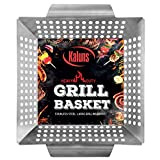 Kaluns Grill Basket - Best Grilling Basket for Vegetables and Shrimp - Heavy-Duty Stainless Steel Material - Perfect Size Fits Most Grills - Great for BBQ or Oven Use BBQ Accessories