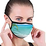 Comfortable Windproof mask,Ocean, Exotic Lebanon Beach Panoramic Sea View Clean Water and Blue Sky Picture,Turquoise Green White,Printed Facial decorations for Women and Men