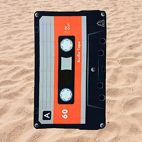 BE CRAZY THE BRAND Toalla de Playa Microfibra Forma de Cassette - Fabricado en Poliéster y Nylon,...