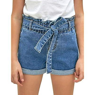 Amazon - Save 60%: LookbookStore Girls Denim Shorts Cuffed Hem High Waisted Belted Jean Shor…